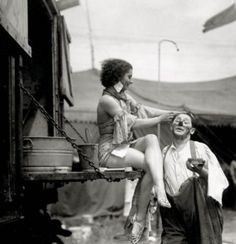 "Vintage photo of a circus clown and another performer. Love the ""tattered"" and worn look and feel of this."
