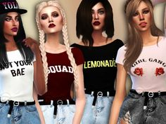 The Sims Resource: 'Not Your Bae' Crop Tops by Simlark • Sims 4 Downloads