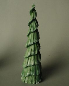 Hand Carved Wooden Christmas Tree, Wood Tree, Carved Tree 9 Inches Tall, Woodland Decor