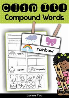 Compound Words word work Clip It! literacy center and compound words cut and paste worksheets.