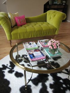 Green Sofa Cowhide Rug