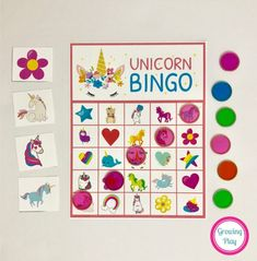 This Unicorn Bingo Party Printable includes 8 Unicorn themed bingo boards and 48 Unicorn themed calling cards. This is the PERFECT game for Unicorn birthday party. Just print and you have a Unicorn themed game for a group of kids or family fun night! Dragon Birthday Parties, Birthday Party Games, Birthday Ideas, 10th Birthday, Girl Birthday, Birthday Week, Rainbow Birthday, Unicorn Games, Unicorn Party