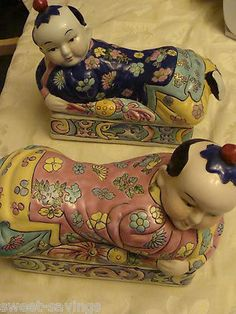 LOT OF 2 ELEGANT VINTAGE CHINESE PORCELAIN PILLOW BOXES - VARIOUS RED MARKS