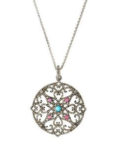 Diamond, Tourmaline & Turquoise Filigree Pendant Necklace