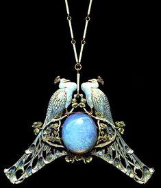 Exquisite art Nouveau Pendant With Necklace, Opulent Opal, Excellent Enamel, beautiful Birds and More, an Item of Infinite Interest   JV