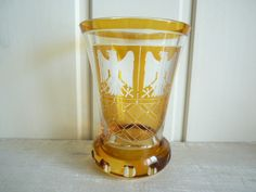 St Louis crystal whisky glass coat of arms cut glass French vintage whisky tumbler heraldic overlaid glass fathers day by VintageFrenchStore on Etsy