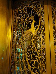 Peacock Door- Bronze door with peacock design by Louis Comfort Tiffany, Palmer House, Chicago