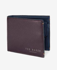 Color block leather bi-fold wallet