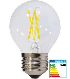 4W LED FILAMENT E27 G45 Birne Glas 400 Lumen Warmweiß  Pries: 2,76 €  Form: Birne Wattleistung: 4W = Wattleistung Standardlampe: 35W  Farbe: Warmweiß Mittlere Lebensdauer: ca. 25000 Stunden Anzahl der Schaltzyklen: ca. 100 000x Material: Glas