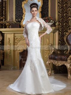 Strapless Satin Mermaid Wedding Dress with Lace Bolero and Beading
