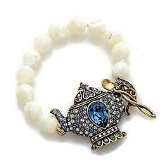 "Heidi Daus ""My Cup of Tea"" Mother-of-Pearl Beaded Toggle Bracelet"