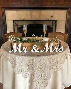 Mr and Mrs wedding signs table decoration. Rustic wedding centerpieces wedding reception. Wedding present, wedding aragement, engagement by SunFla on Etsy https://www.etsy.com/listing/548851186/mr-and-mrs-wedding-signs-table #weddingdecoration #rusticweddingreception