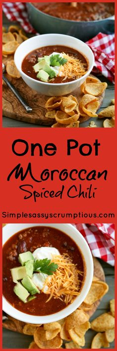 A spicy twist on your typical Chili recipe. This One Pot Moroccan Spiced Chili adds cinnamon and cardamom to add Moroccan flair to this fall favorite soup.