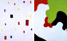 """Mary Heilmann """"Hokusai,"""" 2004 Oil on canvas, diptych: 75 x 120 inches overall © Mary Heilmann Courtesy the artist, 303 Gallery, New York and Hauser & Wirth, Zürich London"""