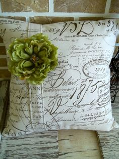 Document Script Fabric Pillow Slip with by SimplyFrenchMarket, $35.00