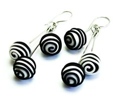 Black and white Stainless Steel and Polymer Clay Earrings balls, Swirl earrings via Etsy