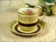 Johnson Bros Pareek Gold Floral Demitasse Cup & Saucer Set