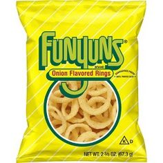 Funyuns were introduced in America in 1969 and have gone on to become one of the most popular snacks in the US. Funyuns were given their name by Jim Albright, a professor at the University of North Texas. American Chips, American Food, Frito Lay, Chips Brands, Cupcakes, 100 Calories, Quick Snacks, Onion Rings, Food Items