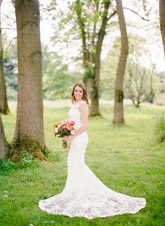 Stunning lace Monique Lhuillier wedding dress: Wedding Dress: Monique Lhuillier - http://www.moniquelhuillier.com/ Groom's Attire: Michael Andrews Bespoke - http://www.stylemepretty.com/portfolio/michael-andrews-bespoke Photography: Rebecca Yale Photography - rebeccayalephotography.com   Read More on SMP: http://www.stylemepretty.com/2017/01/11/organic-farm-wedding/