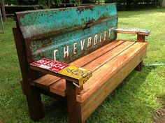 Kathi's Garden Art Rust-n-Stuff: Team building - Garden Bench with an old tailgate= love this website!