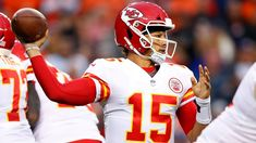 Kansas City Chiefs quarterback Patrick Mahomes throws a pass during the first half of an NFL football game against the Denver Broncos