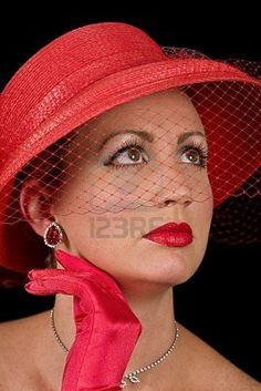 Red retro/vintage hat from 60's with a veil