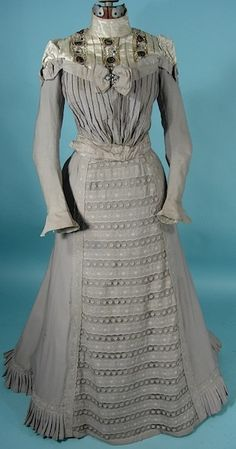 Victorian Gown/Gibson Era Gray High-Necked Cotton And Beaded Two-Piece Afternoon Gown   c.1900  -  Antique & Vintage Dress Gallery