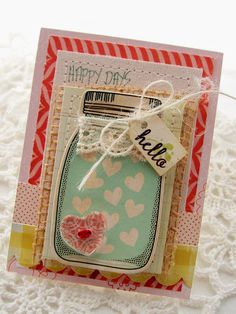 just bought a similar Dear Lizzy mason jar stamp...cute idea to stamp it on patterned paper  {Crate Paper (American Crafts) :: Andrea Budjack}