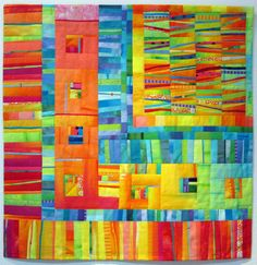 Melody Johnstone - Bon Bon #4  Hand dyed and commercial cottons, fused and machine quilted  34.5x35""