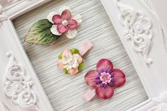 Pink/Peach Flowers Hair Clip  Set of 3 by BabyGeneration on Etsy, $4.00