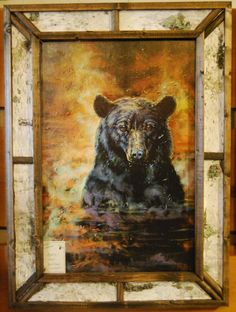 """Dipping Bear. Approximate Size with Frame: 22"""" x 30"""". Available at Cabin Creations in Phillips, WI. www.cabincreationswi.com"""