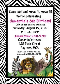 Jungle Birthday Invitation, Jungle Birthday, Invitations, Zebra, Madagascar