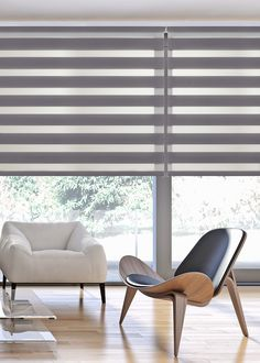 Gray Interior, Home Interior Design, Interior Decorating, Blinds For Windows, Curtains With Blinds, Cortina Roller, Zebra Blinds, Sliding Door Window Treatments, Ceiling Curtains