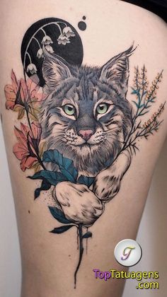 Your favorite wild cat Comment below! (The Lynx is one of the favorite from last year) Done Your favorite wild cat Comment below! (The Lynx is one of the favorite from last year) Done and ____ Tribal Tattoos, Floral Thigh Tattoos, Flower Tattoos, Body Art Tattoos, Girl Tattoos, Tattoos For Women, Tattoo Art, Beautiful Tattoos, Unique Tattoos