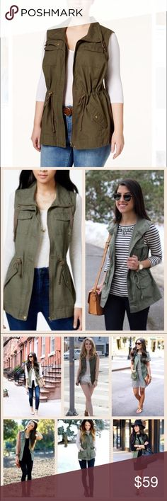 """1 DAY SALE Plus Size Army Green Utility Vest PRICE FIRM✨HOST PICK✨ Perfect for all seasons, from casual to dressy, this stylish utility vest goes with many different looks. A great addition to your closet. A MUST HAVE!!! Actual vest looks like the one on the left of first picture  Measurements:                   XL - Bust 44"""" Length 27.5"""" front 29.5"""" back  XXL - Bust 48"""" Length 28"""" front 30"""" back Boutique Jackets & Coats Vests"""