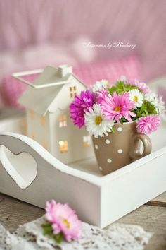 Blueberry blog - love the little house lantern on the heart cut-out tray - adorable!