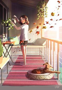 illustration Just Around The Corner, an art print by Yaoyao Ma Van As Illustration Photo, Art Illustrations, Character Illustration, Fashion Illustrations, Illustrator, Girl And Dog, Anime Scenery, Anime Art Girl, Aesthetic Art