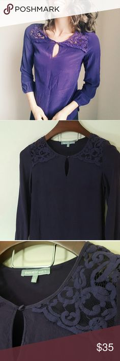 Nordstrom   100% silk top   Xsmall In excellent condition! Gorgeous 100% silk top. Lace detail! Dark purple color. Long and loose fitting.  Size XS. Used item, some signs of wear shown by pictures ❤ Bundle up! Offers always welcome:) Nordstrom Tops