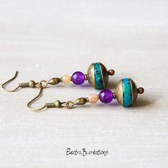 """Boucles d'oreilles bohèmes """"yaël"""" en pierres fines , orange, prune, bleu vert"""