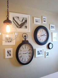 Great spin on the #gallerywall - a clock wall that incorporates #custromframed pictures of clocks!