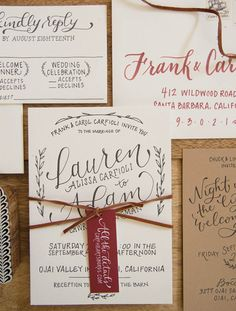letterpress and handlettered