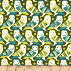 Joel Dewberry Birch Farm Barn Owl Sage from @fabricdotcom  Designed by Joel Dewberry for Free Spirit, this cotton print is perfect for quilting, apparel and home decor accents.  Colors include cream, olive, teal and lime.