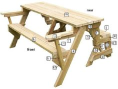 1000 ideas about folding picnic table on pinterest for Plan table de jardin en bois