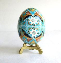 Blue and Brown Pysanka batik egg on chicken by UkrainianEasterEggs, $39.95