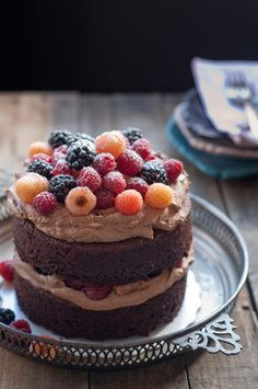 Yummy chocolate cake with berries