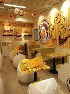 """Izumi Curry"" a restaurant in Hong Kong transformed into ""Gudetama"" café. Choses Cool, Feed Insta, Cafe Design, Interior Design, Lazy Egg, Kawaii Shop, Cute Japanese, Rilakkuma, Mellow Yellow"
