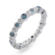 Malakan Jewelry - Platinum-Silver Ladies Treated Blue Diamond Eternity Band 78571A2