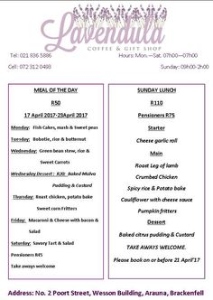 Coffee & Gift Shop's menu for this week. For more info, phone 021 836 Garlic Rolls, Sweet Carrot, Bacon Pasta, Coffee Gifts, Recipe Of The Day, No Cook Meals, Stuffed Mushrooms, Menu, Food