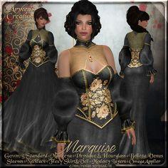 426f8e335171 {AS} Marquise Fitted Mesh Fantasy Gown: Black Floral Velvet; Maitreya, Slink