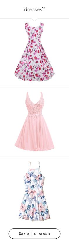 """""""dresses♡"""" by jordanwilton ❤ liked on Polyvore featuring dresses, gowns, prom gowns, prom dresses, long formal evening gowns, bridal gowns, long gown, vestidos, white floral and white fit-and-flare dresses"""